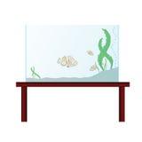 Aquarium sur la table avec les poissons exotiques Images libres de droits