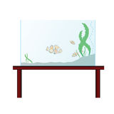 Aquarium on the table with exotic fish. Illustration Royalty Free Stock Images