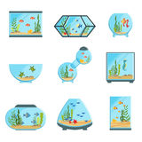 Aquarium tanks set, different types of aquariums with plants and fish detailed vector Illustrations. On a white background Stock Photos