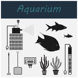 Aquarium. Tools for the aquarium. Accessories and fish. Vector icons. Royalty Free Stock Photo