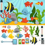 Aquarium tropical fishes and plants vector accessor set. Aquarium with tropical fishes and plants. Vector fish tank set of filtration system, heater, scoop net Royalty Free Stock Image