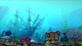 Aquarium underwater scene. Flooded ship, treasure chest. 3d rendering. stock footage
