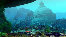 Aquarium underwater scene. Sharks swim. The flow of fish. Flooded building. 3D rendering stock footage