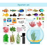 Aquarium underwater vector elements, corals and stones isolated on white background Stock Photography