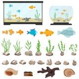 Aquarium underwater vector elements isolated on white background. Aquaristics cartoon set with aquarium fishes stones seaweeds sea vector illustration