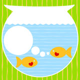 Aquarium Valentines Day Card. With a bubble speech to write message Royalty Free Stock Image