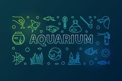 Aquarium vector colorful horizontal banner in thin line style. Aquariumistics concept minimal illustration on dark background Stock Images