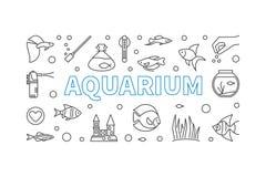 Aquarium vector horizontal banner in thin line style. Aquariumistics concept minimal illustration Royalty Free Stock Images