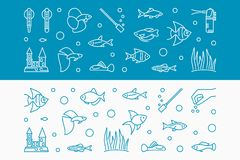 Aquarium vector horizontal banners made with fish icons. Aquarium vector horizontal banners made with fish and equipment outline icons. Aquariumistics concept Royalty Free Stock Photography
