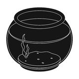Aquarium with water.Pet shop single icon in black style vector symbol stock illustration web. Royalty Free Stock Image