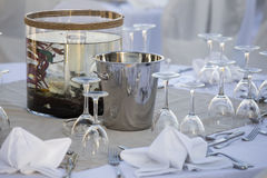 Aquarium on wedding table, set in hotel restaurant Stock Photography