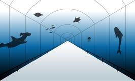 Aquariumillustratie in één-punt perspectief stock illustratie