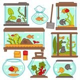 Aquariums icons set with tropical fishes and plants vector equipment design. Aquariums of different shapes with tropical fishes and plants. Vector fish tank set Royalty Free Stock Image