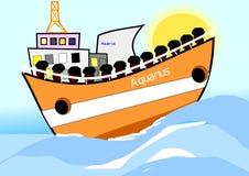 Aquarius łódkowaty symbol aktualna imigracja Zdjęcie Stock