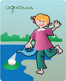 Aquarius. Collection of 12 children horoscopes and characters Stock Photography