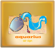 Aquarius. Air sign of zodiac system stock illustration
