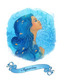 Aquarius astrological sign as a beautiful girl. Illustration of aquarius zodiac sign as a beautiful girl Royalty Free Stock Photo