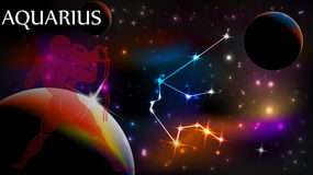 Aquarius Astrological Sign and copy space Royalty Free Stock Photography