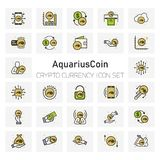 Aquarius Coins Crypto Currency icons set. For web design and application interface, also useful for infographics. Vector illustration Stock Images