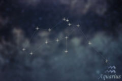 Aquarius Constellation. Zodiac Sign Aquarius constellation lines. Galaxy background Zodiac Sign royalty free stock images