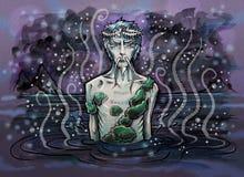 aquarius Espírito velho da água no lago ilustração stock
