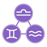 Aquarius, Gemini, Libra Icons. Vector Astrological, Horoscope Signs. Zodiac Symbols. Air Element. Stickers. Vector illustration. vector illustration