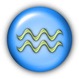 Aquarius Glyphs. Horoscope Glyphs Button - Aquarius (Include Clipping Path Stock Photography