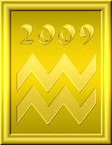 Aquarius gold. Illustration of the zodiac sign of the aquarius for the new year Royalty Free Stock Image