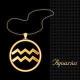 aquarius golden pendant 免版税库存照片