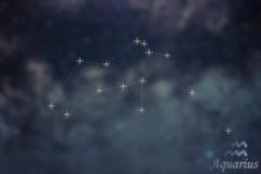 Aquarius gwiazdozbiór Zodiaka Aquarius gwiazdozbioru Szyldowe linie Obrazy Royalty Free
