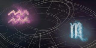 Aquarius i Scorpio horoskopu znaków kompatybilność Nocne niebo Ab Obrazy Royalty Free