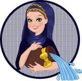 Aquarius sign. Aquarius horoscope sign. Smiling young woman holding jug of water Stock Images