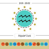 Aquarius. Signs of zodiac, flat linear icons for horoscope, predictions. Stock Image