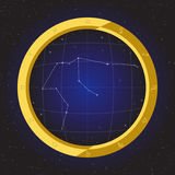 Aquarius star horoscope zodiac in fish eye telescope with cosmos background. Aquarius star horoscope zodiac in fish eye telescope golden ring frame with cosmos Royalty Free Stock Photo