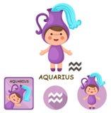 Aquarius vector collection. zodiac signs Stock Photo