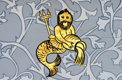 Aquarius the water bearer zodiac sign. Ancient wall painting of a zodiac symbol of aquarius stock photos