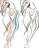 Aquarius woman outline drawing. Woman holding Amphora with flowing water aquarius concept Royalty Free Stock Images