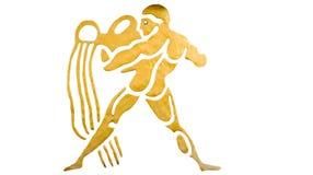 Aquarius znak odizolowywający na bielu horoskop Fotografia Stock