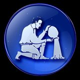 Aquarius zodiac button icon Royalty Free Stock Photography