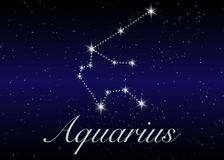Aquarius zodiac constellations sign on beautiful starry sky with galaxy and space behind. Aquarium horoscope symbol constellation. On deep cosmos background Royalty Free Stock Photo