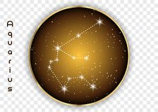 Aquarius zodiac constellations sign on beautiful starry sky with galaxy and space behind. Aquarium horoscope symbol constellation. On deep cosmos background Royalty Free Stock Image