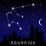 Aquarius zodiac constellations sign on beautiful starry sky with galaxy and space behind. Aquarium horoscope symbol constellation. On deep cosmos background Stock Photo