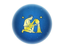 Aquarius - Zodiac Golden Sign Stock Photo