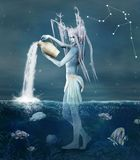 Aquarius. Zodiac series - Aquarius as a fantasy creature with vase and fishes Royalty Free Stock Photo
