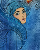 Aquarius zodiac sign as a beautiful girl Royalty Free Stock Photo