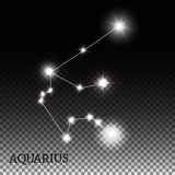 Aquarius Zodiac Sign of the Beautiful Bright Stars Stock Photo