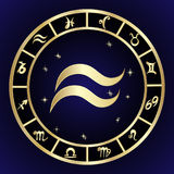 Aquarius zodiac sign in circle frame Royalty Free Stock Photos