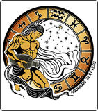 Aquarius and the zodiac sign.Horoscope circle vector illustration