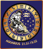 Aquarius zodiac sign. Horoscope circle.Retro Stock Photos