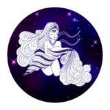 Aquarius zodiac sign, horoscope symbol, vector illustration Stock Image